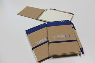 A6 notebook with logo