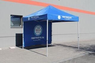 3x3m pop up tent with logo Finntriathlon