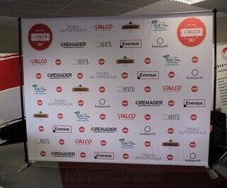 Advertising wall with different logos