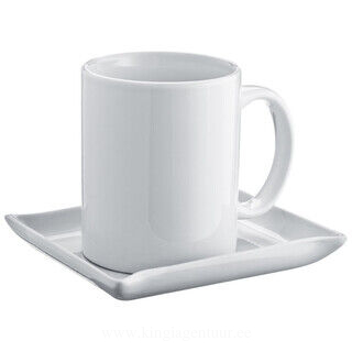 Set of coffee cup and coaster